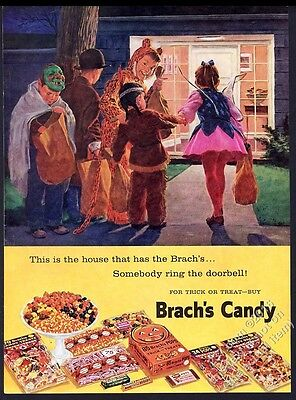 1959 Brach's Halloween Candy trick-or-treating kids in costume vintage print ad