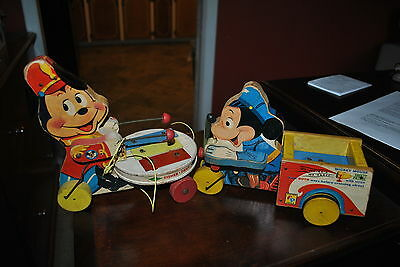 Fisher Price Pull Toy Deal Mickey Mouse Zilo # 714 & Safety Patrol # 733
