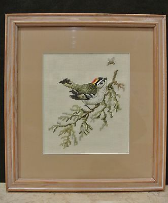 Golden-Crowned Kinglet Hand Needle-Point Picture with  Wood Frame
