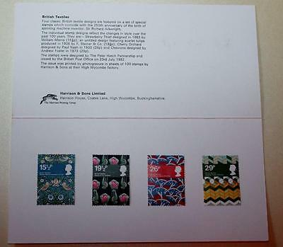 Gb 1982 Textiles Harrison Presentation Pack Mint Stamps Sg1192-1195 See # 2119+