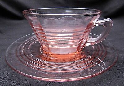 1930's Pink Depression Glass Hocking Circle Tea Cup and Saucer Set