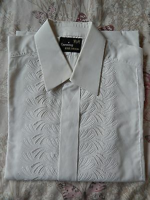 Vintage Mens Rael Brook White embroidered front Shirt Retro 15.5