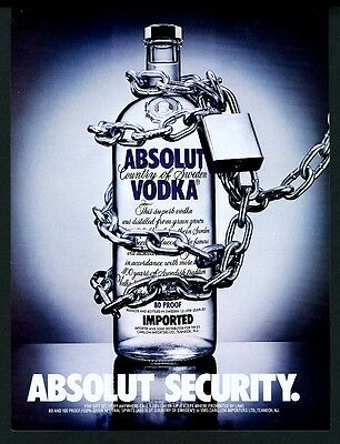 1987 Absolut Security vodka bottle chained up photo vintage print ad
