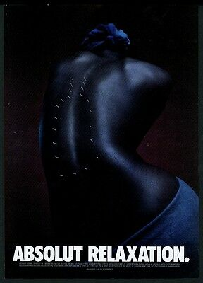 1999 Absolut Relaxation vodka bottle accupuncture woman's back photo print ad