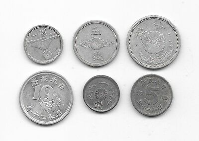 JAPAN SET  1 - 5 - 10 SEN 1942 + 1945  Lot  Alte münzen