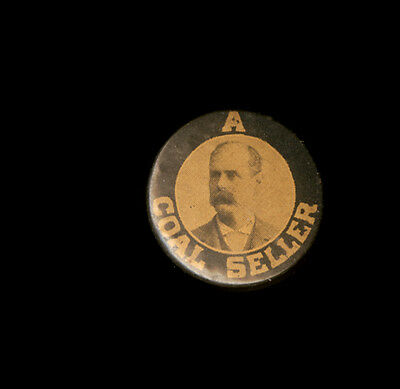 1890s Celluloid Stud Pin A Coal Seller with Portrait of Gentleman Thos J Gleason