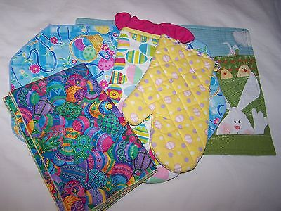 Lot of Easter items; 2 Potholders, 5 Napkins, 2 Placemats; NWOT; Free Ship