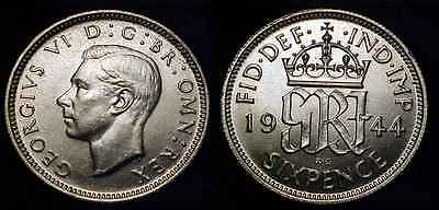 GREAT BRITAIN 1944 Silver Sixpence Ch BU