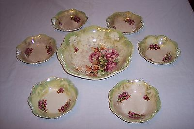 Lovely 7 Pc Steubenville Victorian Rose Pattern Green Luster Berry Set