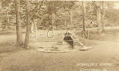 Original Vintage 1910s-20s Sepia Real Photo- Gettysburg PA- Spangler's Spring