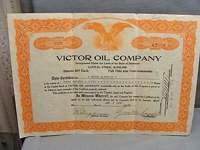 Antique Stock Certificate Victor Oil Company 1918 350 Shares
