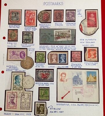 Stamp Album Page - Postmarks - 24 - stamps - worldwide - not hinged