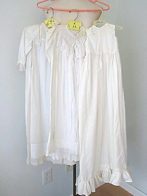 LOT 3 Victorian white cotton baby long gowns elaborate stitching lace antique