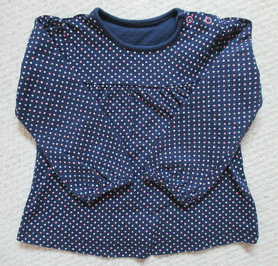 Mothercare Navy Spotted T-Shirt Top (Size 18-24 Months)