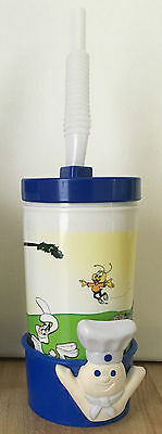 Pillsbury Doughboy Kids Plastic Cup with Straw, Lid & Holder NEW