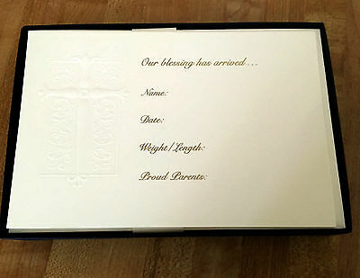 Crane's Boxed Set of 10 Embossed Cross Birth Announcements with Envelopes NEW