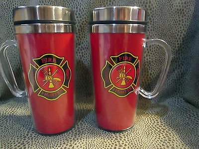 Firefighter Fireman Handled Insulated Travel Mug And Closeable Lid 12 Oz. New