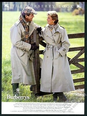 1988 Burberrys man's woman's trenchcoat trench coat scarf hat photo print ad