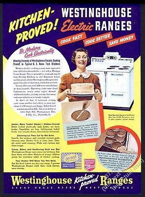 1938 Westinghouse electric range stove housewife and cake photo vintage print ad