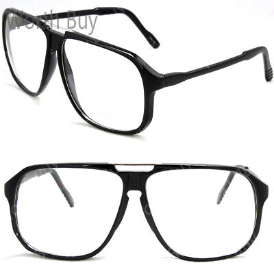 Retro Vintage Clear Lens Frame Glasses Mens Womens Fashion Large Oversized Nerd
