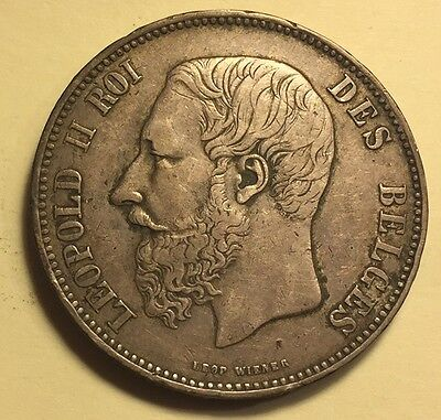Belgium - Leopold II - 5 Francs - 1867 - KM-24 - Nice Extra Fine - See images!
