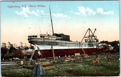 OGDENSBURG, NY New York   MARINE RAILWAY- SHIP Being Worked on 1910 Postcard