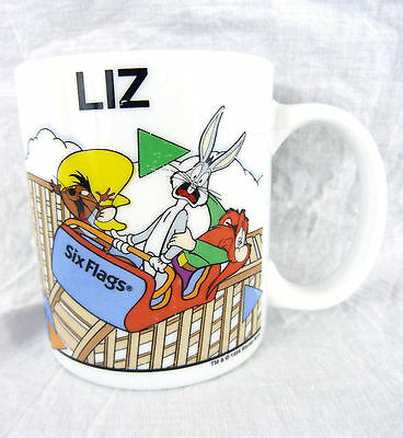 Six Flags Looney Tunes Coffee Mug Rollercoaster Personalized LIZ Coffe Tea Cup