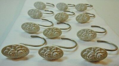 White Embossed Flower Oval Shower Curtain Hooks Silver Tone Metal