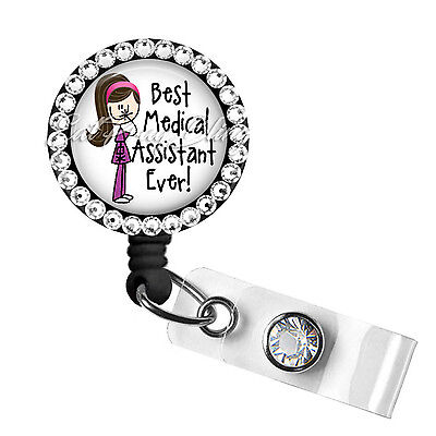 Retractable Badge Reel Name Tag ID Pull Clip Holder Lanyard Medical Assistant MA
