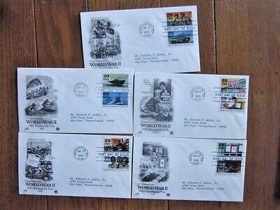 Ww2 World War Ii 1943 Turning The Tide  Complete Set 10 Stamps 5 Pcs Cachet Fdcs
