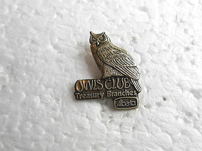 Vintage Alberta Canada Treasury Branches Owls Club Lapel Pin
