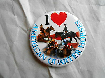 Vintage I Heart / Love American Quarter Horses Pinback Button