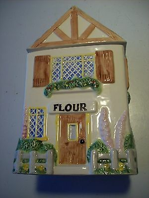 OCI Flour Victorian Cottage Garden House Home Canister Gray Roof Fence @ cLOSeT