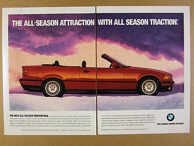 1994 BMW 325i Convertible red car color photo vintage print Ad