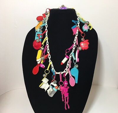 1980's Clip Charm Bell Necklace Rare Plastic Charms Toys Vintage Retro