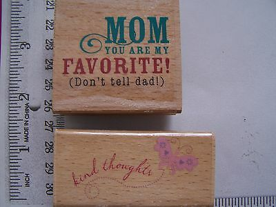 Wm Rubber Stamps  Easter Spring Kind Thoughts Butterfly Favorite Mom ( Mother)