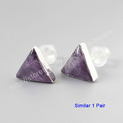 1Pair 925 Sterling Silver 10mm Cambered Triangle Natural Amethyst Studs HSS084
