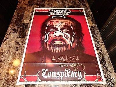 King Diamond Rare Signed Conspiracy Poster Mercyful Fate Heavy Metal Autographed