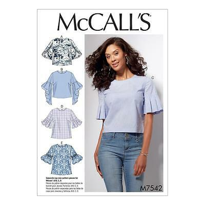 McCALL'S SEWING PATTERN MISSES' TOPS SLEEVE VARIATIONS SEMI-FITTED 6 - 22 M7542