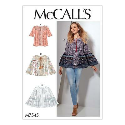 McCALL'S SEWING PATTERN MISSES' TOPS NECKLINE & SLEEVE VARIATIONS 6-22 M7545