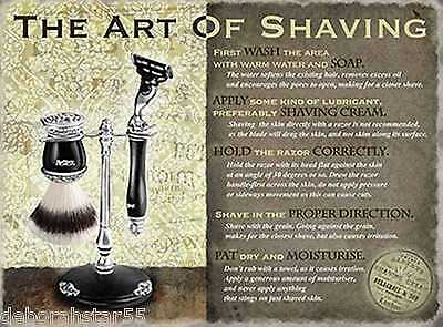 THE ART OF SHAVING Vintage Style Retro  Shabby Chic Sign Large Metal Wall Sign