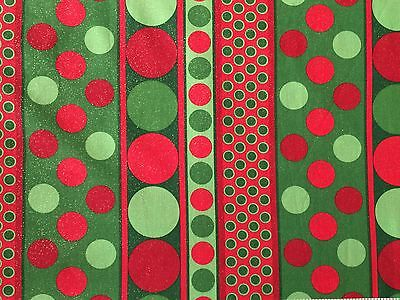 Red Green FQ Fat Quarter Fabric Spots Polka Dots Christmas 100% Cotton Quilting