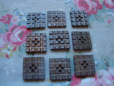 9 Square Carved Vintage Silver Grey  Mother of Pearl Buttons