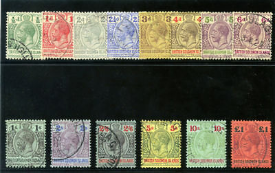 "Solomon Islands 1914 KGV ""POSTAGE & REVENUE"" set complete VFU. SG 22-38."