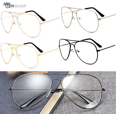 Classic Clear Lens Pilot Tear Drop Glasses Men Women Designer Gold Frame Fashion