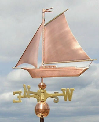 Sweet Sail Boat Weathervane W/Copper Balls & Brass Directionals Made In The Usa