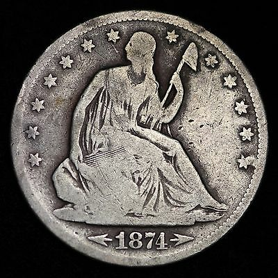 1874-S Seated Liberty Half Dollar CHOICE VG FREE SHIPPING E285 FM