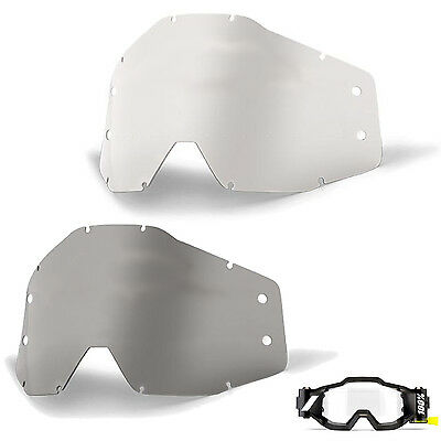 GOGGLE-SHOP 100% FORECAST MOTOCROSS GOGGLE ROLL-OFF LENS CLEAR SMOKE enduro bike