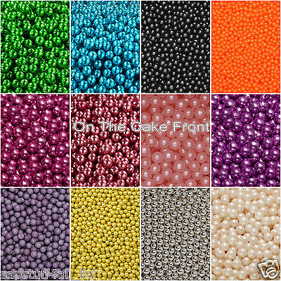 SUGAR BALLS 4mm edible pearls decorations cupcake dragees chocolate smartie 15mm
