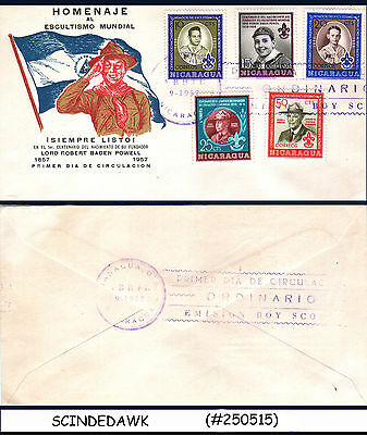 Nicaragua - 1957 Birth Centenary Of Lord Baden Powell / Boy Scout 5V - Fdc